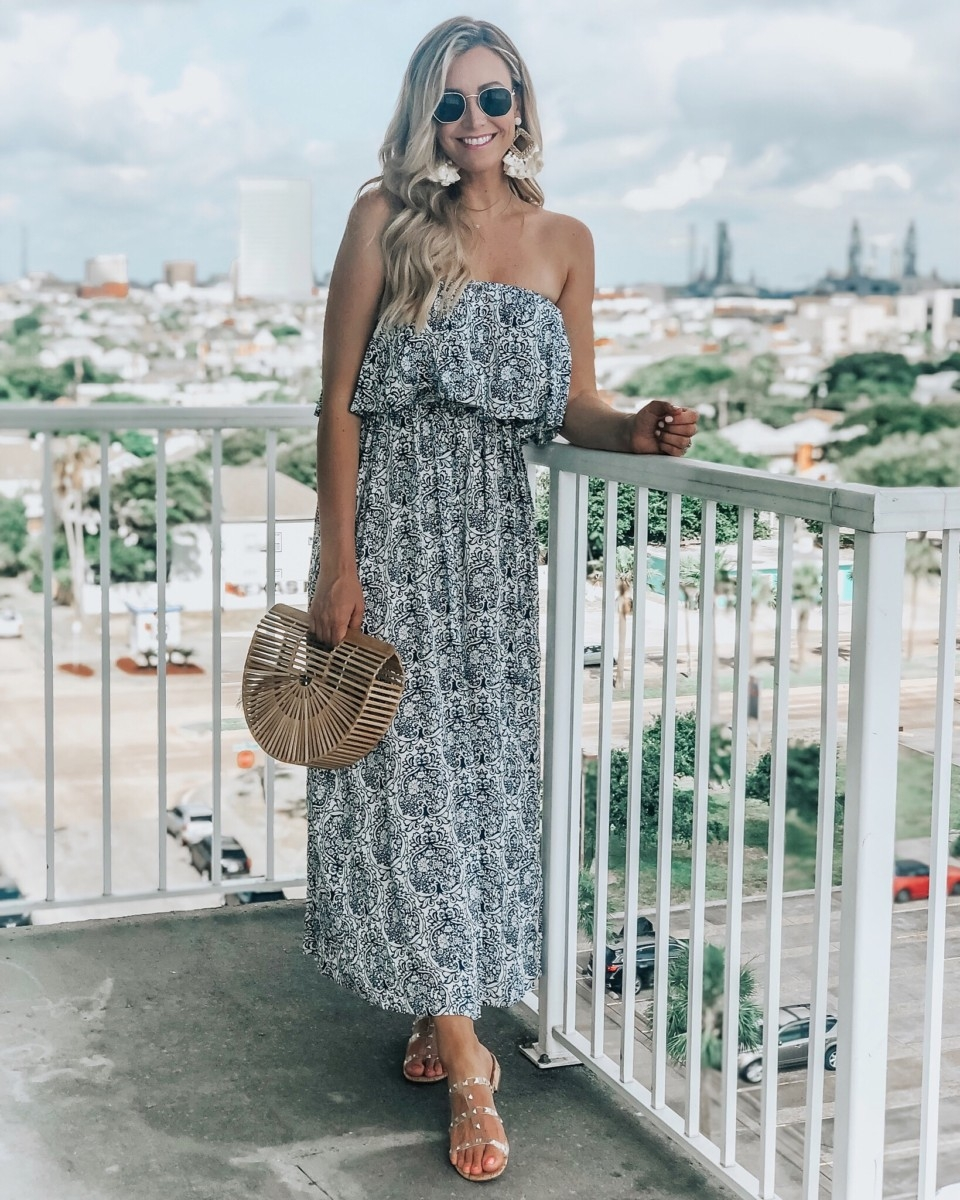 Baby Shower Food Ideas featured by top US life and style blog Haute & Humid; Image of a woman wearing Amazon maxi dress, Amazon handbag, Jessica Simpson sandals and Amazon earrings.