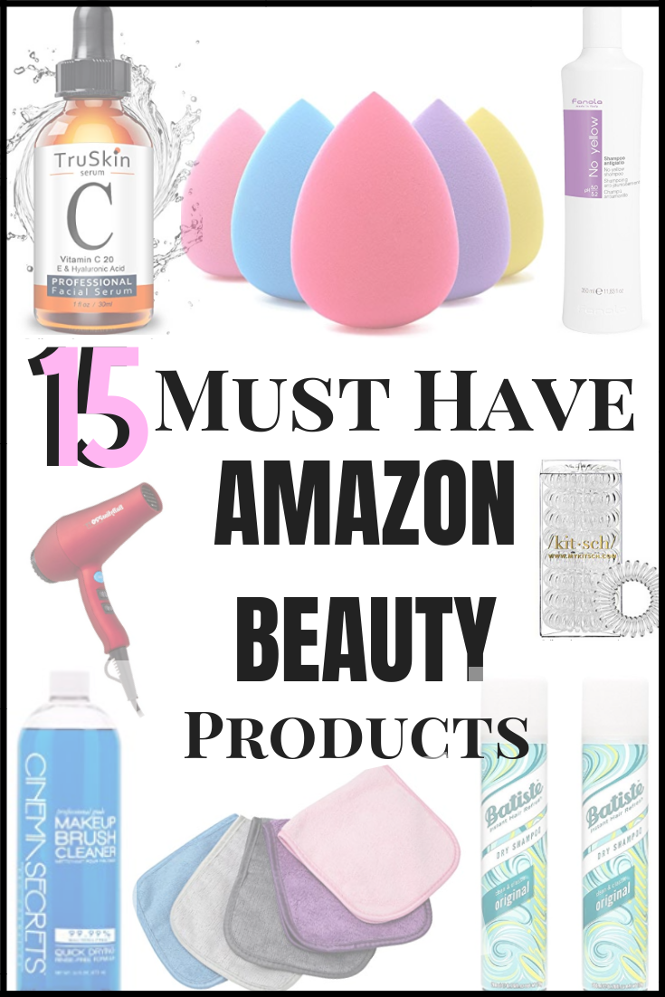Amazon Beauty Products | 15 Best Amazon Beauty Products by popular Houston beauty blog, Haute and Humid: collage image of various beauty products.