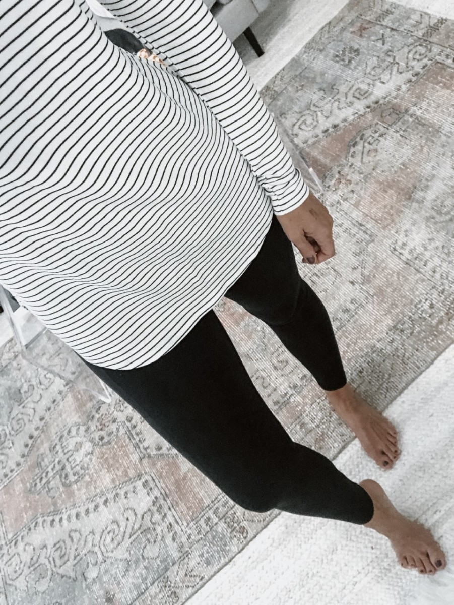 Amazon Leggings | 5 Best Amazon Leggings Reviewed And Rated by popular Houston fashion blog, Haute and Humid: image of a woman wearing Amazon IUGA High Waist Yoga Pants with Pockets, Tummy Control, Workout Pants for Women and Amazon Brand - Daily Ritual Women's Supersoft Terry Long-Sleeve Hooded Pullover.