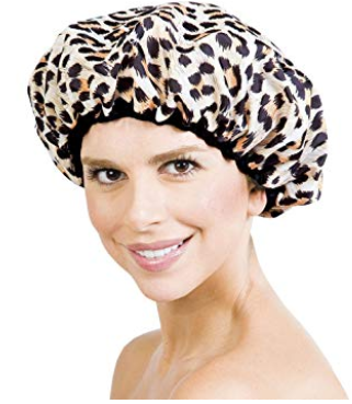 terry cloth lined shower cap | 15 Best Amazon Beauty Products by popular Houston beauty blog, Haute and Humid: image of leopard print shower cap.