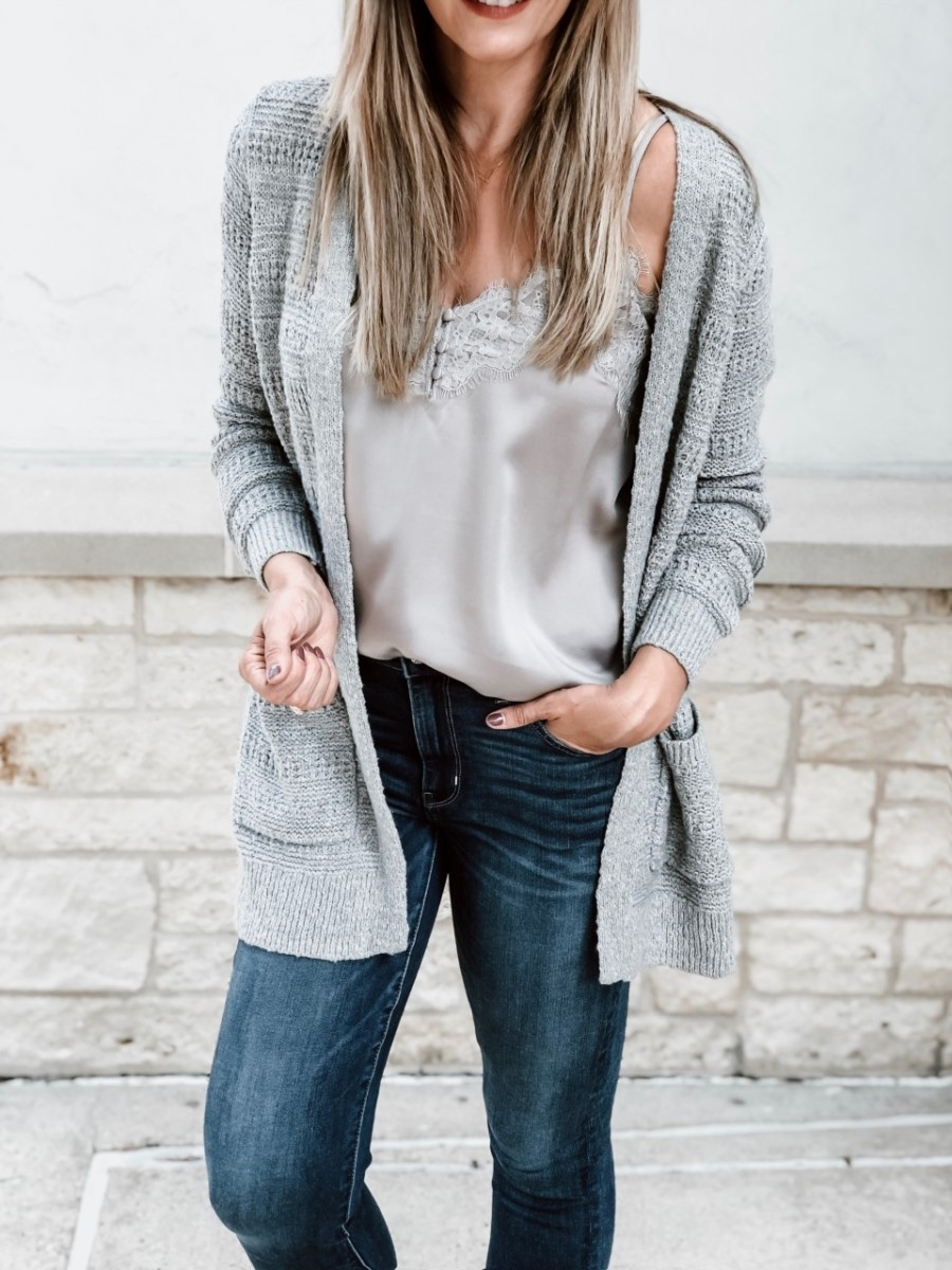 abercrombie black friday | The Best Black Friday Shopping Guide by popular Houston life and style blog, Haute and Humid: image of a woman wearing a Abercrombie and Fitch Easy Stitched Cardigan and Lace-Trim Cami.