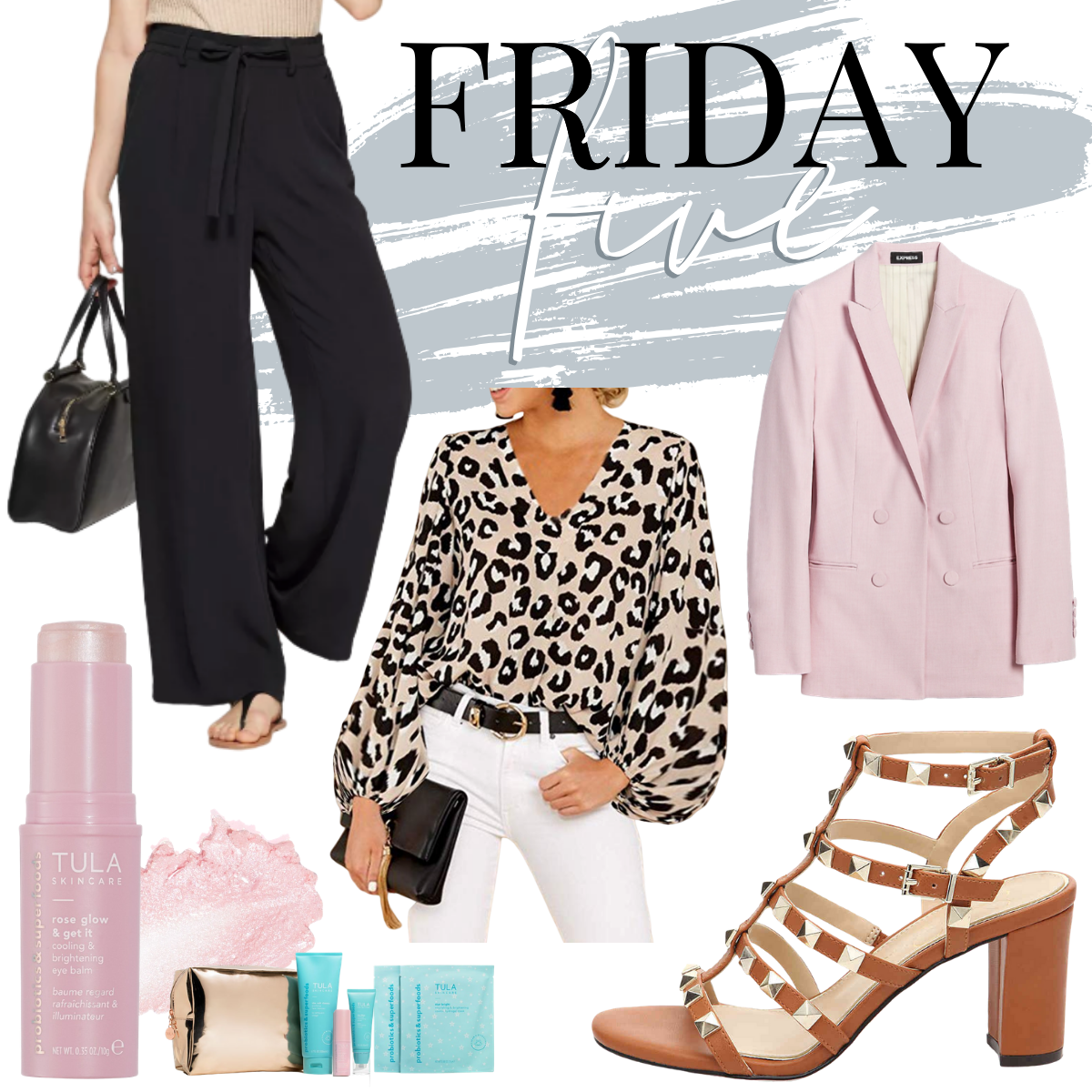 work wear | Cute Workwear for Spring by popular Houston life and style blog, Haute and Humid: collage image of black paper bag pants, pink blazer, studded heel sandals, leopard pring top, and Tula skin products.