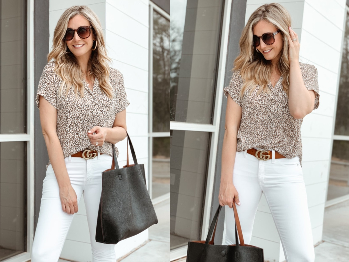 white jeans | Valentine's Day gifts under $50 by popular Houston life and style blog, Haute and Humid: image of a woman wearing a Nordstrom Button Back Top ALL IN FAVOR, Nordstrom The Perfect Vintage Raw Hem Jeans MADEWELL, Nordstrom Reversible Faux Leather Tote & Wristlet STREET LEVEL, Nordstrom Hollow Hoop Earrings ARGENTO VIVO, and Nordstrom Logo Leather Belt GUCCI.