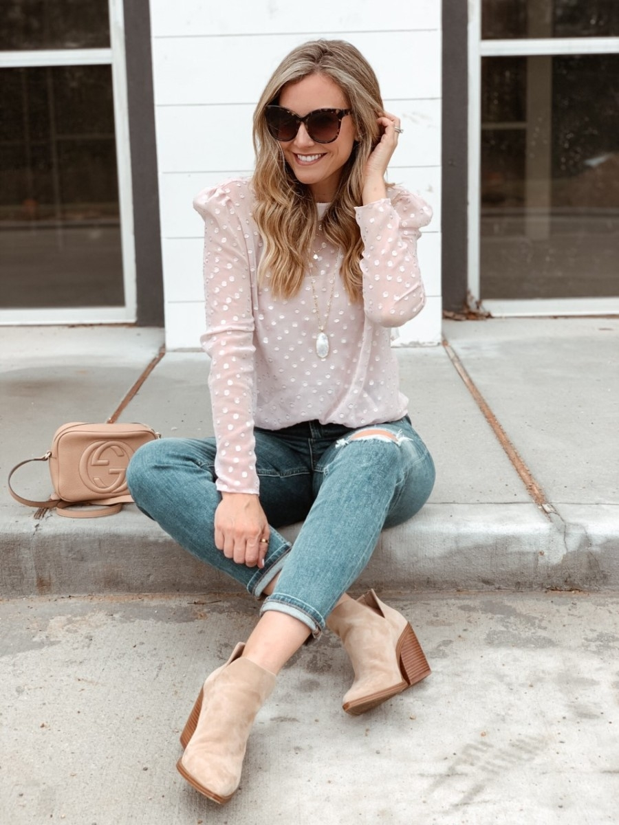 mom jeans | Valentine's Day Gifts Under $50 by popular Houston life and style blog, Haute and Humid: image of a woman wearing a Nordstrom Metallic Clip Dot Blouse CHELSEA28, Nordstrom The Perfect Vintage Crop High Waist Jeans MADEWELL, Nordstrom Gigietta Bootie VINCE CAMUTO, Nordstrom Reid Long Faceted Pendant Necklace KENDRA SCOTT, Nordstrom Disco Leather Bag GUCCI, Nordstrom Hollow Hoop Earrings ARGENTO VIVO, and Nordstrom 66mm Oversize Sunglasses BP..
