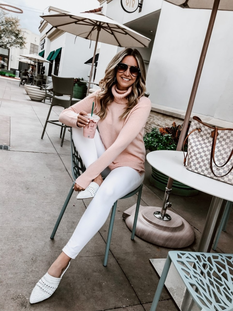 white mules | January Best Sellers by popular Houston life and style blog, Haute and Humid: image of a woman wearing a Nordstrom Longline Turtleneck Sweater BP., Zappos Sam Edelman Natalya, Nordstrom Madewell 9-Inch High Waist Skinny Jeans, and Quay All In sunglasses.