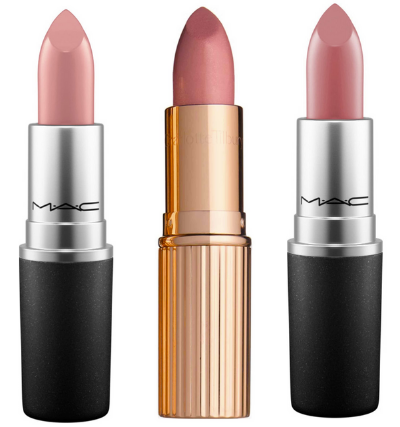 nude lipsticks   Nordstrom Makeup by popular Houston beauty blog, Haute and Humid: image of Mac and Charlotte Tilbury lipsticks.