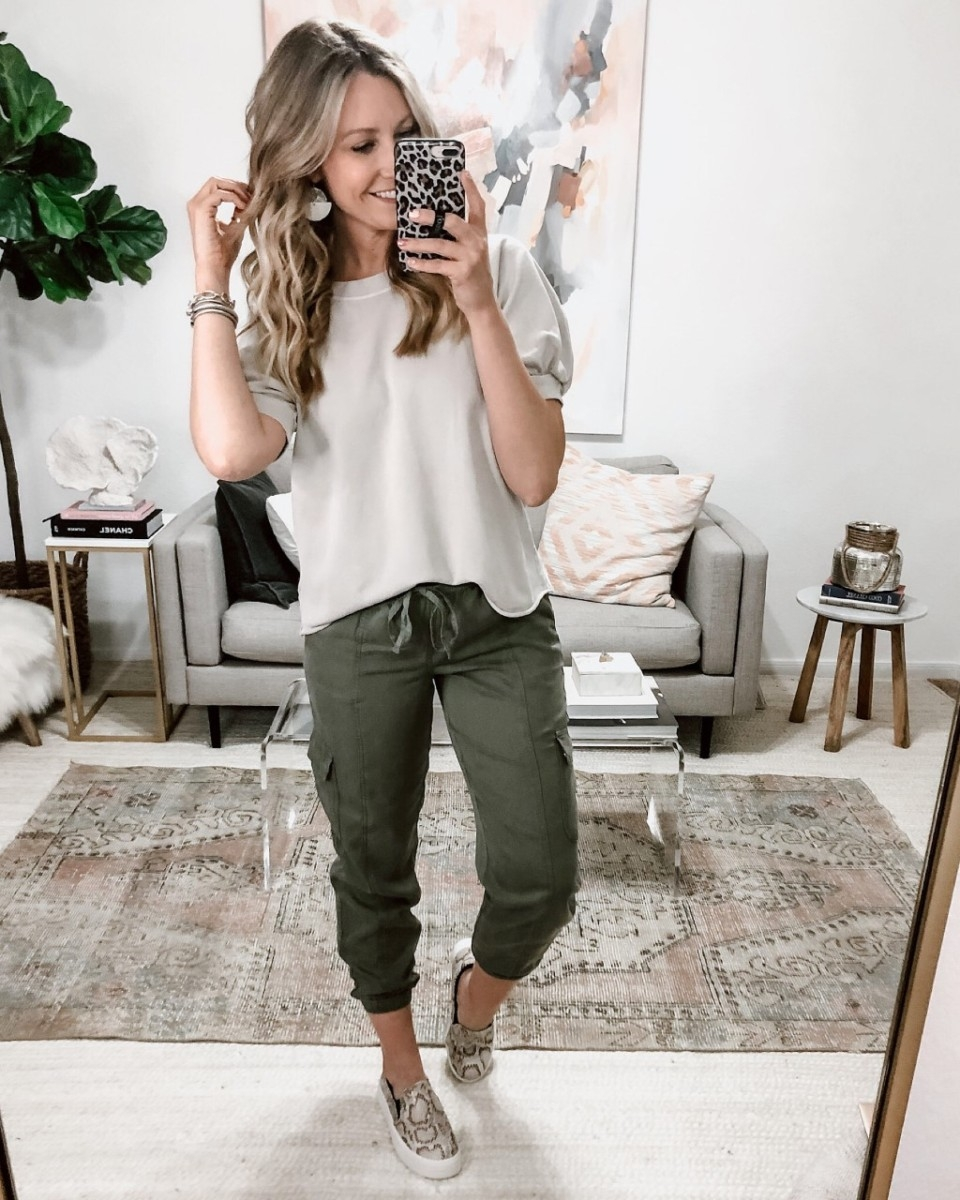 joggers | Spring Clothing by popular Houston fashion blog Haute and Humid: image of a woman wearing Mid-Rise Ankle Length Cargo Pants.