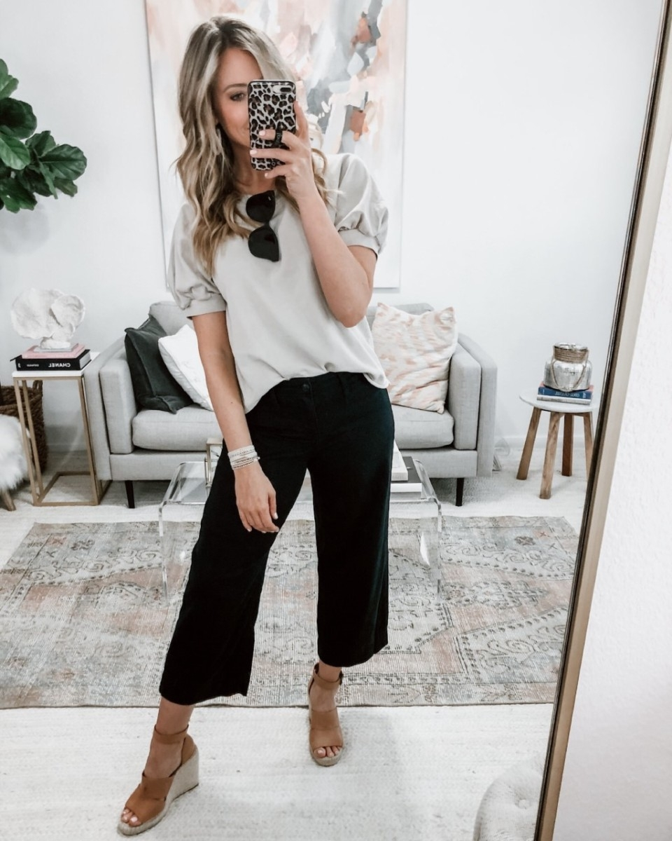 wide leg pants | Spring Clothing by popular Houston fashion blog Haute and Humid: image of a Target Short Sleeve Crewneck Sweatshirt.