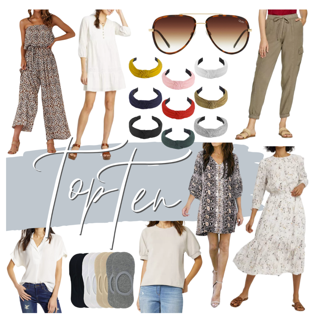 Early Spring Best Sellers | Spring Clothing by popular Houston fashion blog, Haute and Humid: collage image of knot headbands, dresses, no-show socks, Quay sunglasses, blouses, and cargo pants.