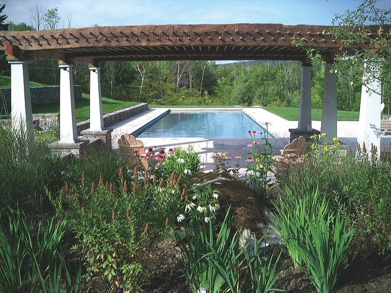 Alford – barn beam pergola creates shaded sitting area