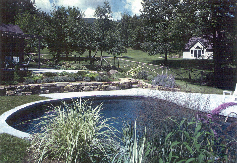 GB – eliptical pool, terraced gardens, pool house, rustic fence
