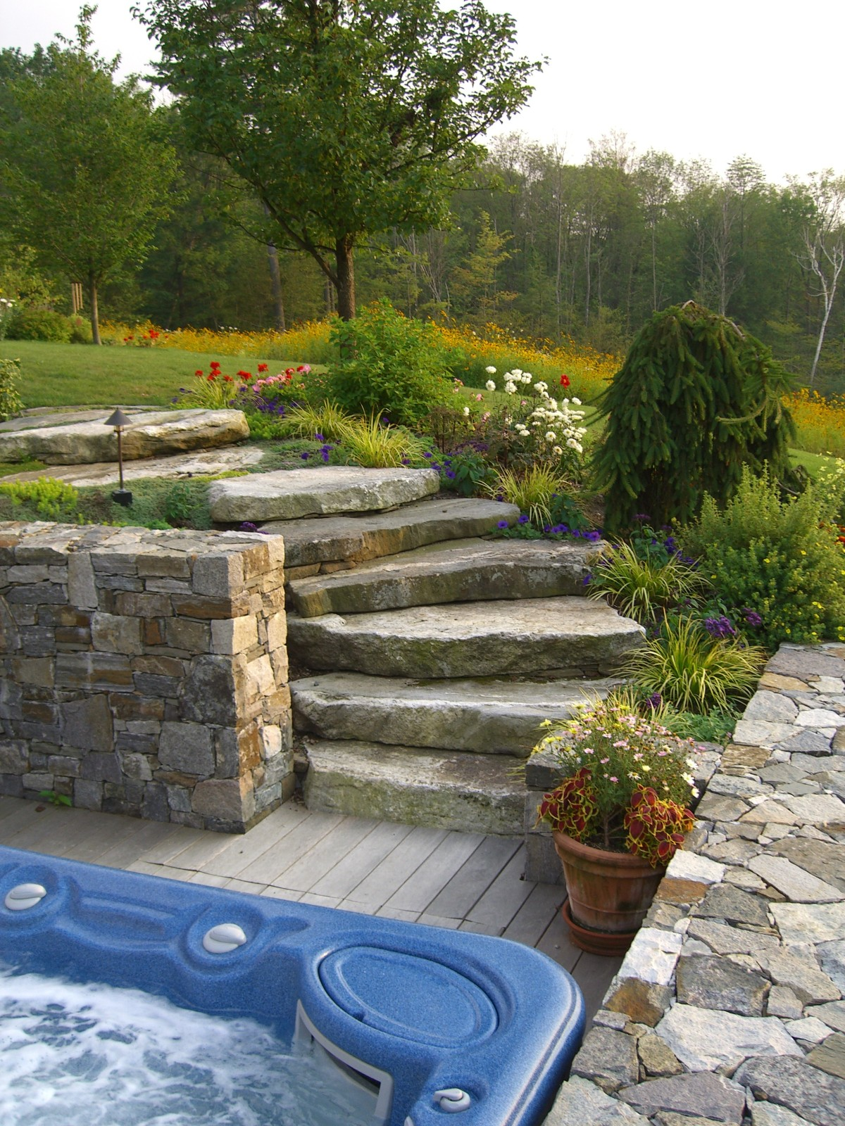 Alford hot tub & garden w granite steps and stone walls