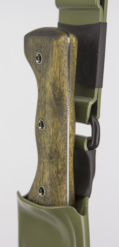 Machete Shop Closeup of a well shaped factory machete handle with Tube Rivets