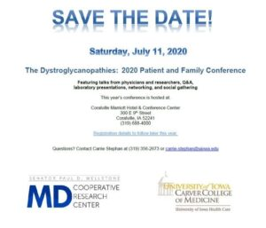 The Dystroglycanopathies:  2020 Patient and Family Conference @ Coralville Marriot Hotel & Conference Center | Coralville | Iowa | United States