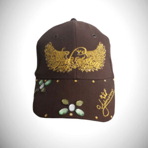 Exclusive brown hat with green stones