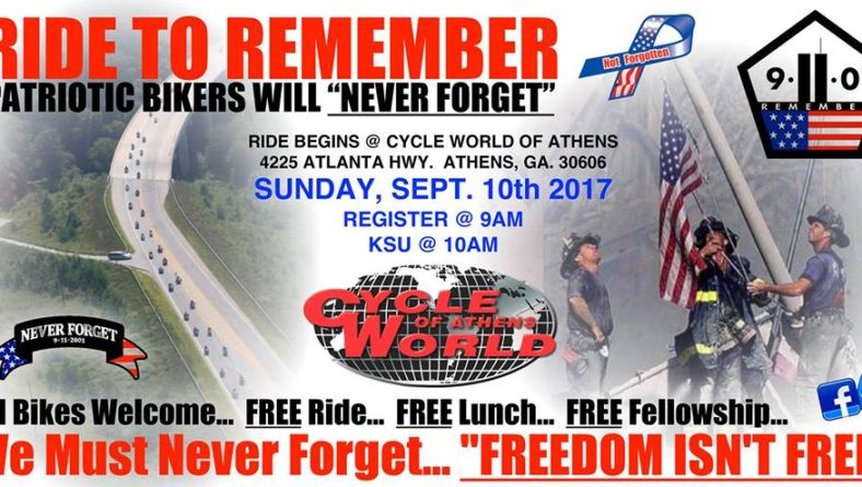 RIDE to REMEMBER 9/11 – Sun., Sept. 10, 2017