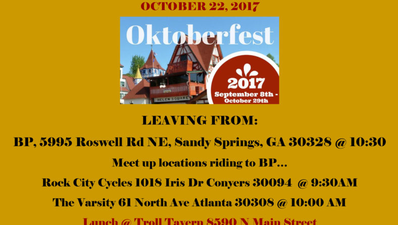 AFR's (Atlanta Female Riders) Ride to Helen, GA – Sun., Oct. 22, 2017