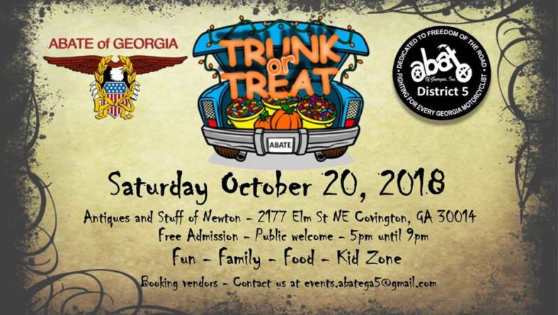 ABATE of GA D5 Trunk or Treat 2018 – Sat., 10/20/18