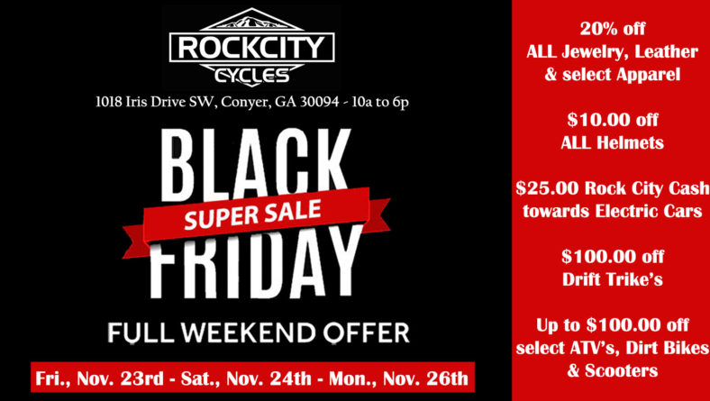 ROCK CITY CYCLES Black Friday Weekend Super Sale – 11/23 – 11/24 & 11/26