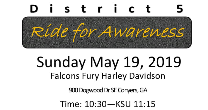 ABATE of GA District 5 Ride for Awareness – Sun., May 19, 2019