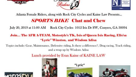 ATLANTA FEMALE RIDERS Chat & Chew sponsored by Rock City Cycles & Kaine Law – Sat., July 20, 2019