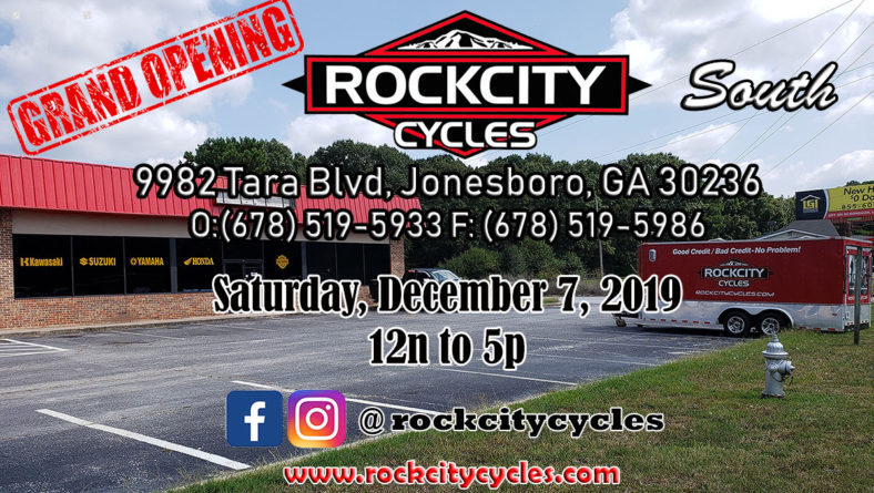 GRAND OPENING of Rock City Cycles South – Sat., 12/7/19