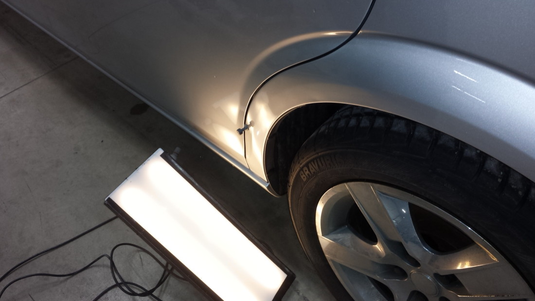 Paintless Dent Repair Phase 3 Using Glue Pull Tabs on Double Wall Steel