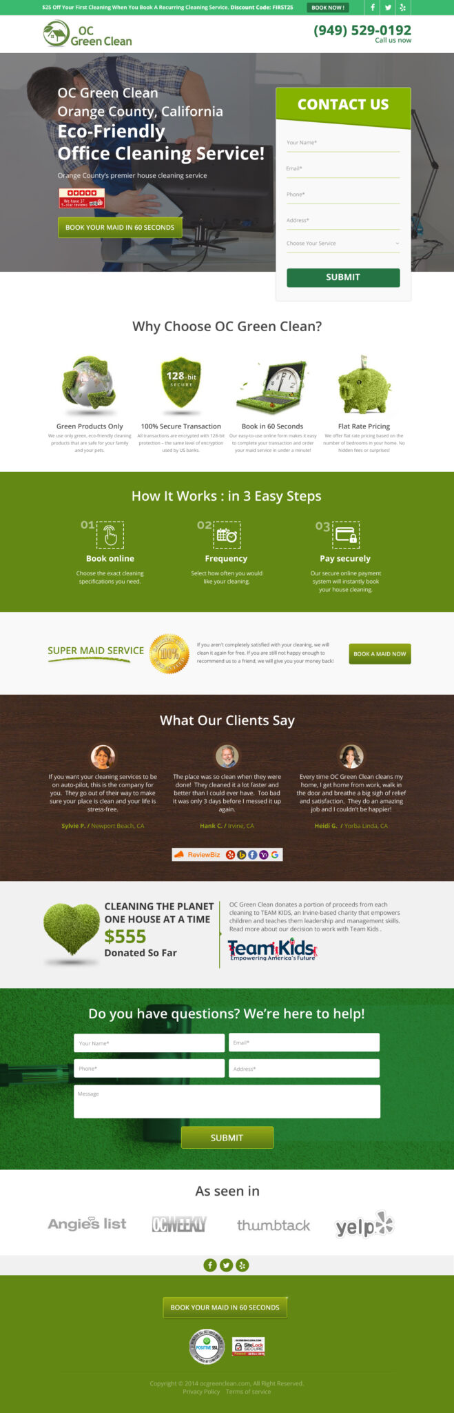 OC Green Clean Landing Page