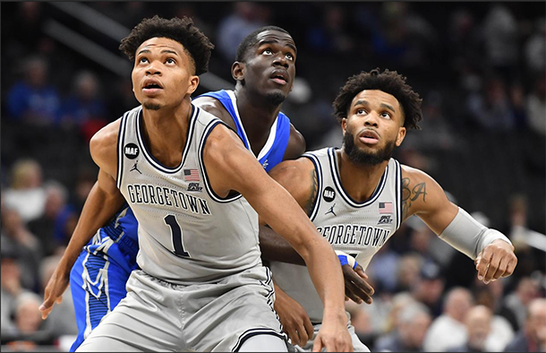 US College Basketball January 15, 2020 / 9:37 PM / 2 months ago Georgetown knocks off newly ranked No. 25 Creighton Field Level Media 3 Min Read Omer Yurtseven scored 20 points and Mac McClung added 19 as Georgetown increased its home winning streak to six games with an 83-80 Big East victory Wednesday over No. 25 Creighton in Washington, D.C. Jan 15, 2020; Washington, District of Columbia, USA; Georgetown Hoyas forward Jamorko Pickett (1) and guard Jagan Mosely (4) box out Creighton Bluejays forward Damien Jefferson (23) during the first half at Capital One Arena. Mandatory Credit: Brad Mills-USA TODAY Sports