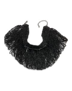 "Carolee Beaded Fringe Choker Necklace- A Statement necklace that you can wear to lunch, dinner & dressy event. 12.5"" with extension 
