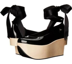holiday-gift-guide-2016-melissaVivienne Westwood Anglomania + Melissa Rocking Horse Women's Shoe - Super cool, sexy and original with Rocking Horse wedges, Recycled PVC upper in black or red |FashionsDigest