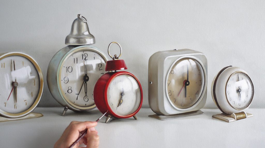 Vintage Alarm Clocks Painting in Progress by Christopher Stott