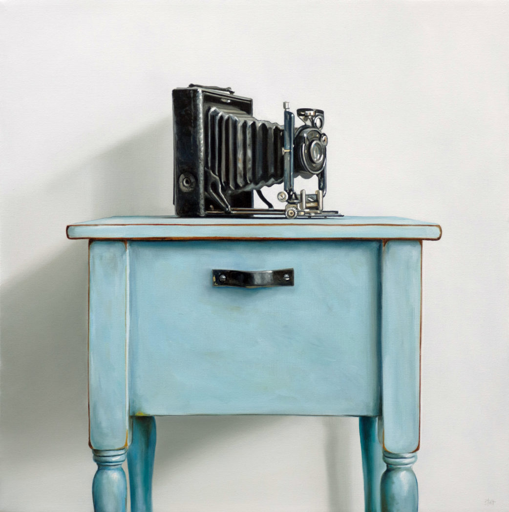 Antique Camera & Blue Table by Christopher Stott