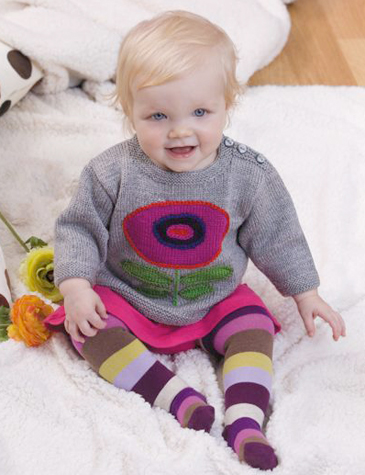 Flower Motif Pullover baby knitting pattern designed by Holli Yeoh | Published in 60 More Quick Baby Knits