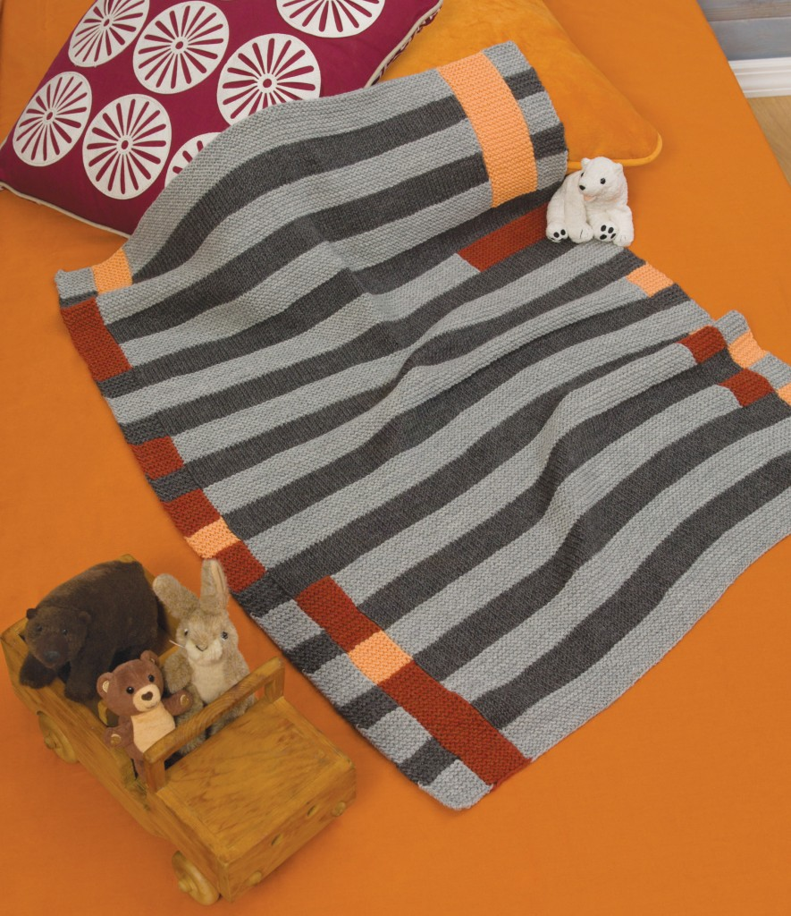 Modern Art baby blanket knitting pattern designed by Holli Yeoh | Published in 60 Quick Baby Blankets