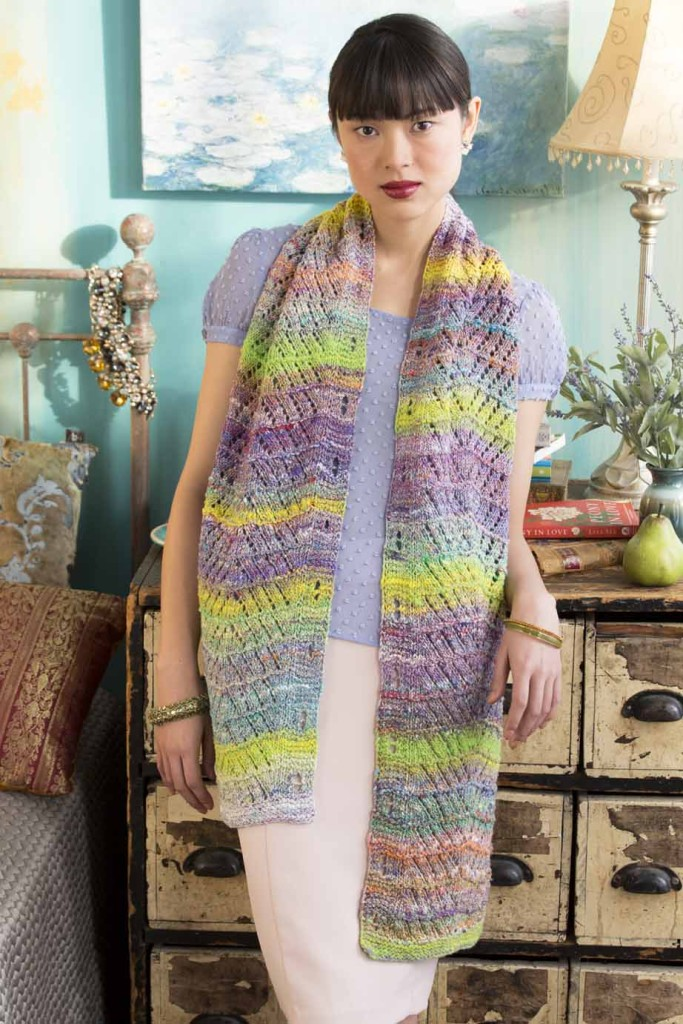 Diagonal Eyelet Scarf knitting pattern by Holli Yeoh | Published in Noro Magazine Spring/Summer 2015