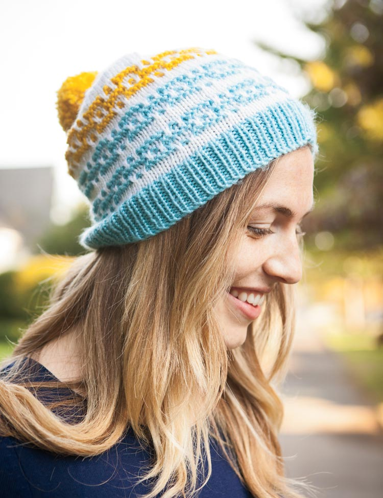 Quadra Hat knitting pattern by Holli Yeoh | Charmed: Whimsical Knitting Accessories