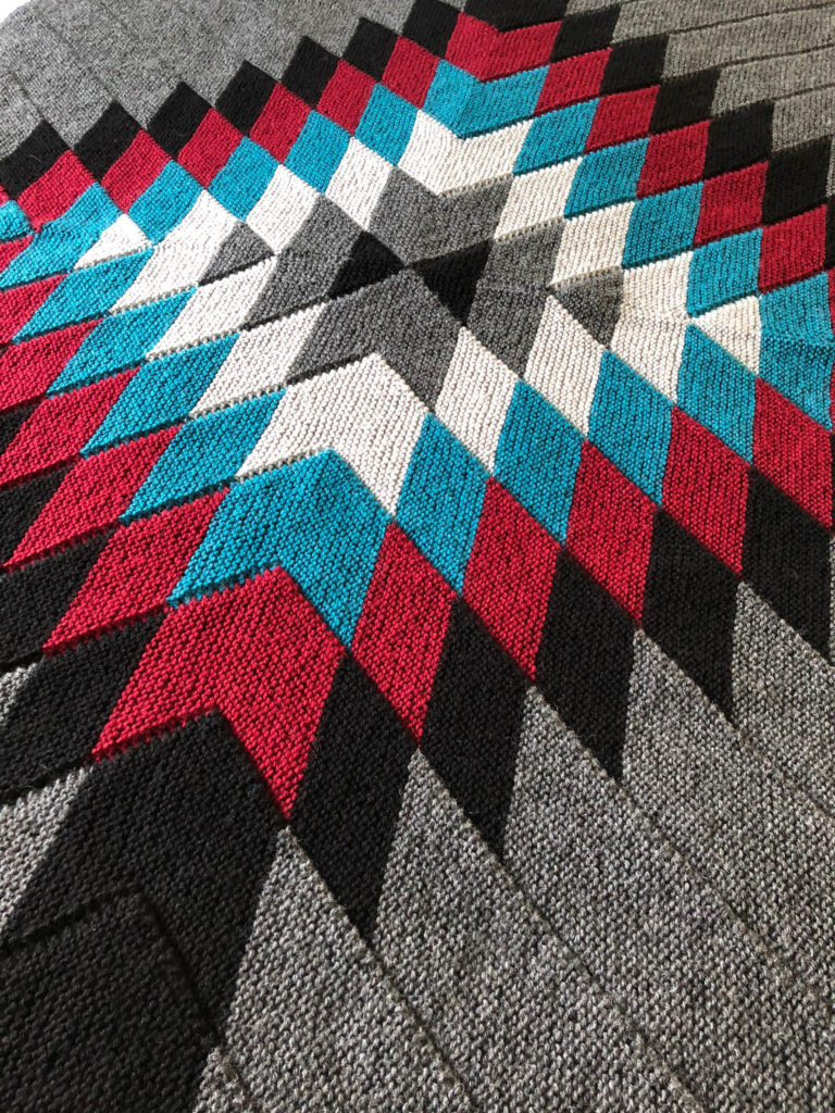 Evening Mesa blanket knitting pattern by Holli Yeoh