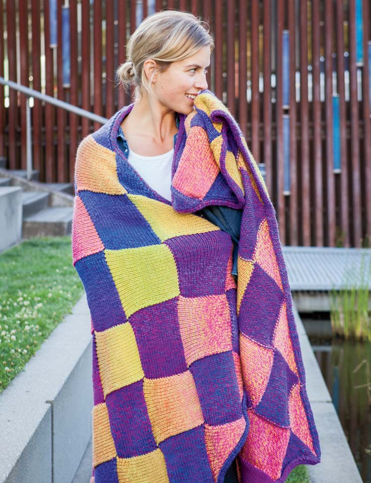 Motley Entrelac Blanket knitting pattern by Holli Yeoh