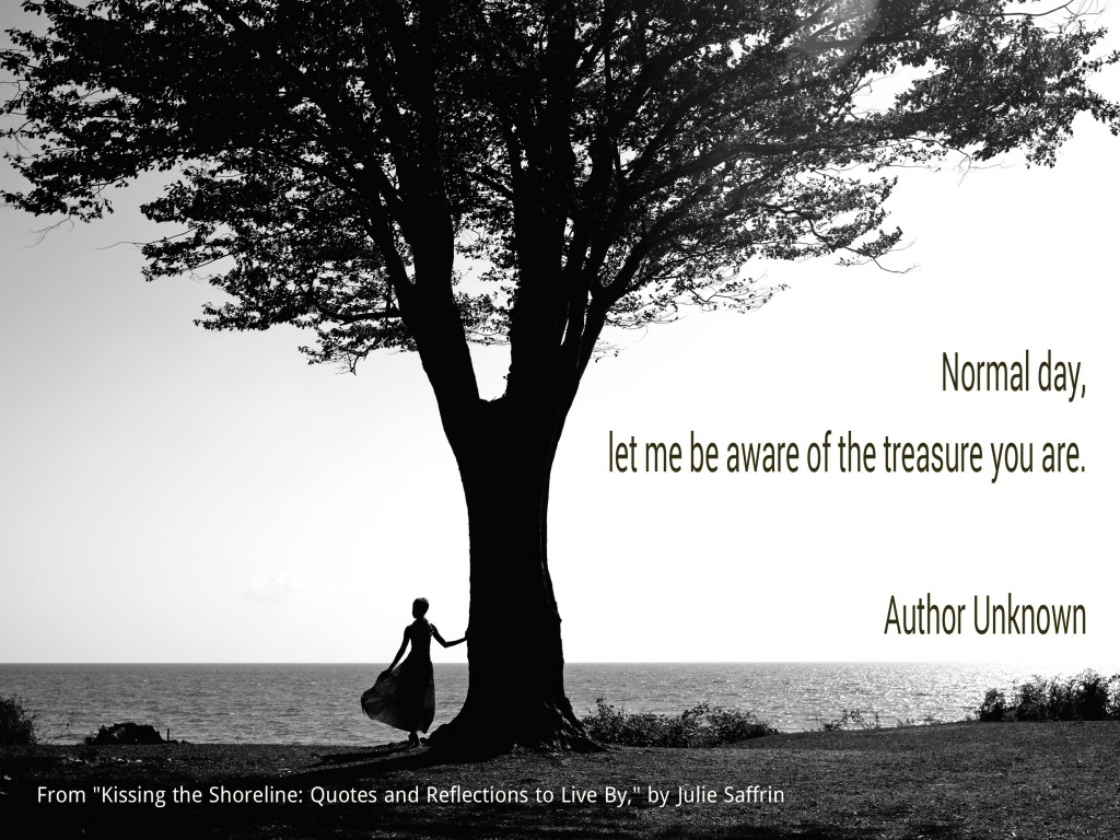 """Normal Day from """"Kissing the Shoreline: Quotes and Reflections to Live By"""" by Julie Saffrin"""
