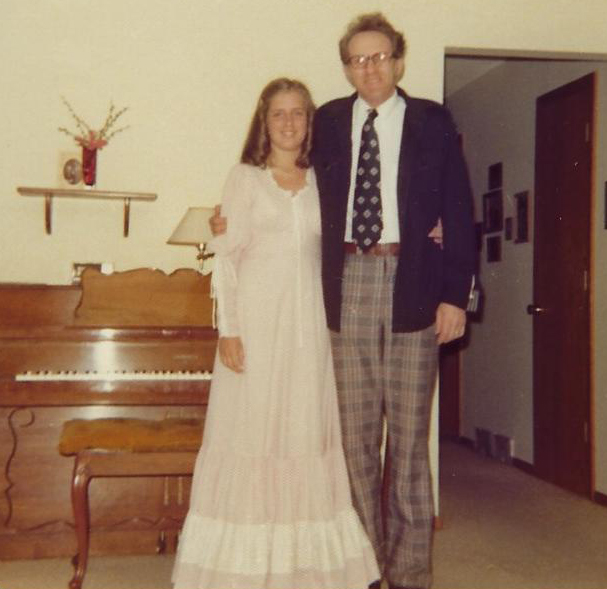 Julie Saffrin with her father, Don Trewartha, Prom Day May 21, 1976