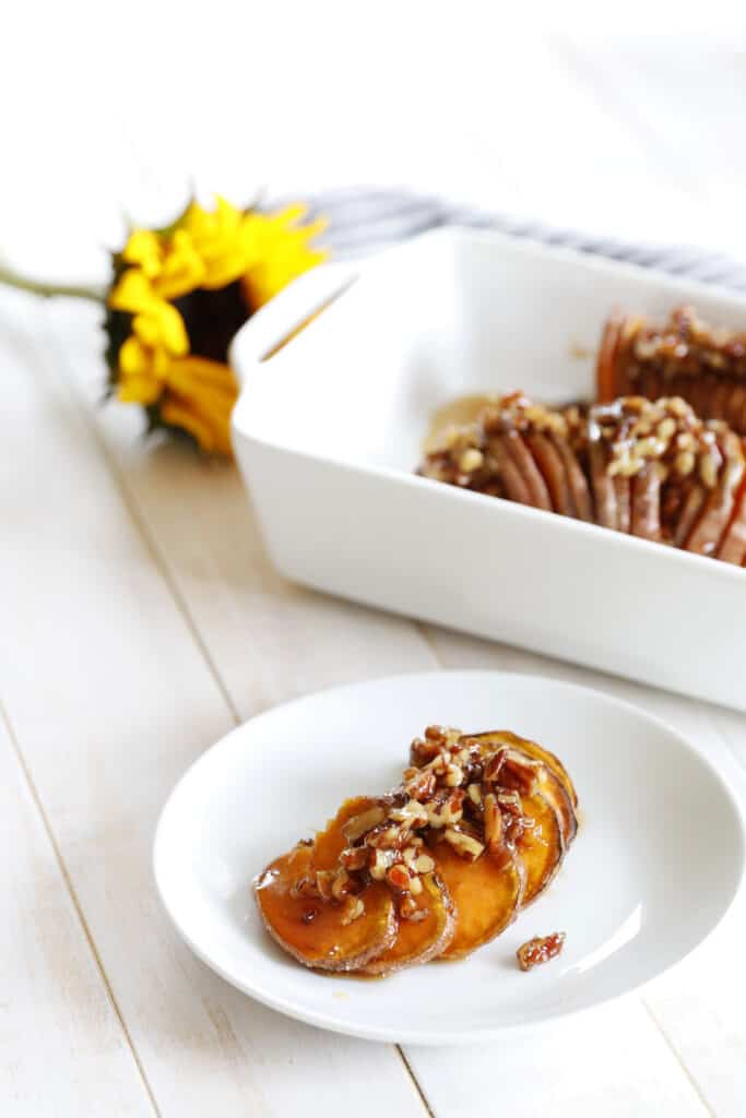 Maple Pecan Hasselback Sweet Potato on a plate