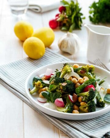 Roasted Broccoli Chickpea Salad with a Roasted Garlic and Lemon Dressing
