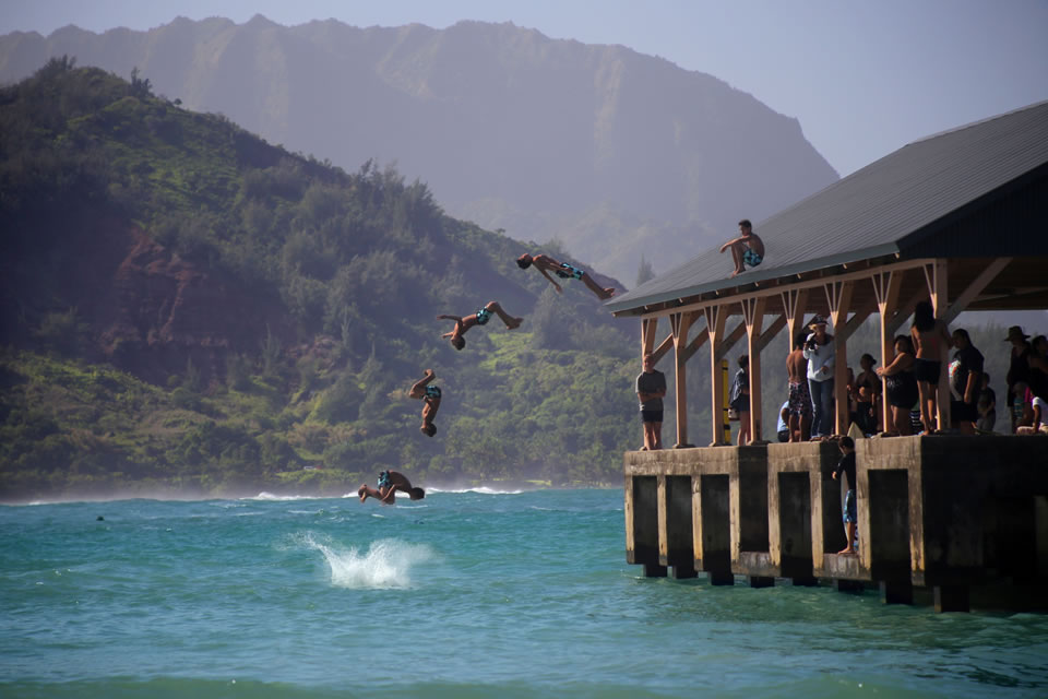 Boy Jumping Hanalei pier
