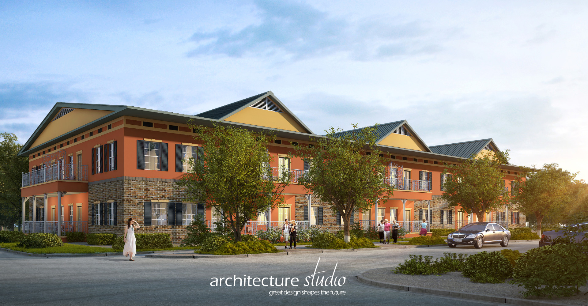 Final 2-story Water Tower Apartments Rendering with Logo