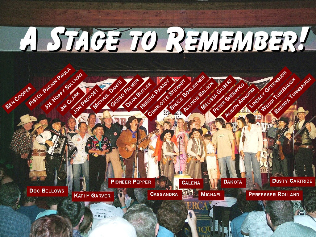Little House on the Prairie Cast and western film stars on stage with Pioneer Pepper & The Sunset Pioneers at the Western Film Festival in Tombstone Arizona