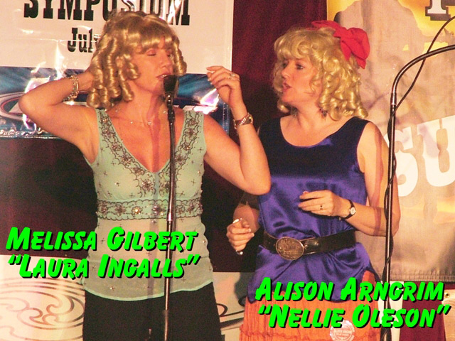 Melissa Gilbert (Laura Ingalls) & Alison Arngrim (Nellie Oleson) ham it up on stage at the Little House on the Prairie reunion in Tombstone