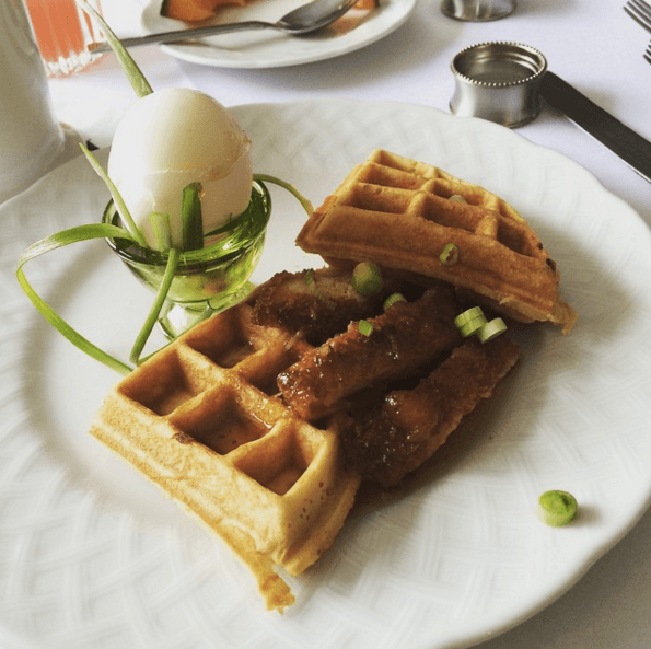 Sausage & Waffles w/ a Boiled Egg