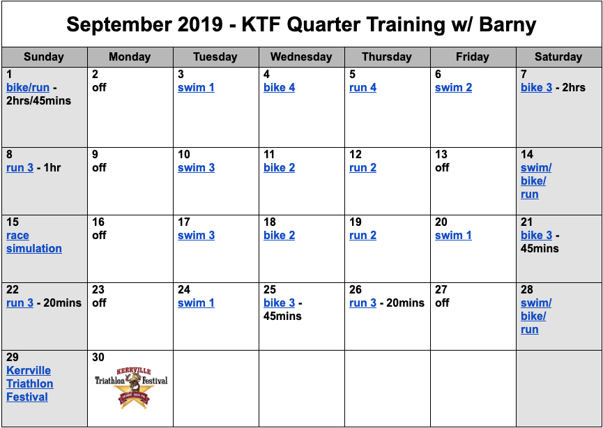 Quarter distance triathlon training plan for September.