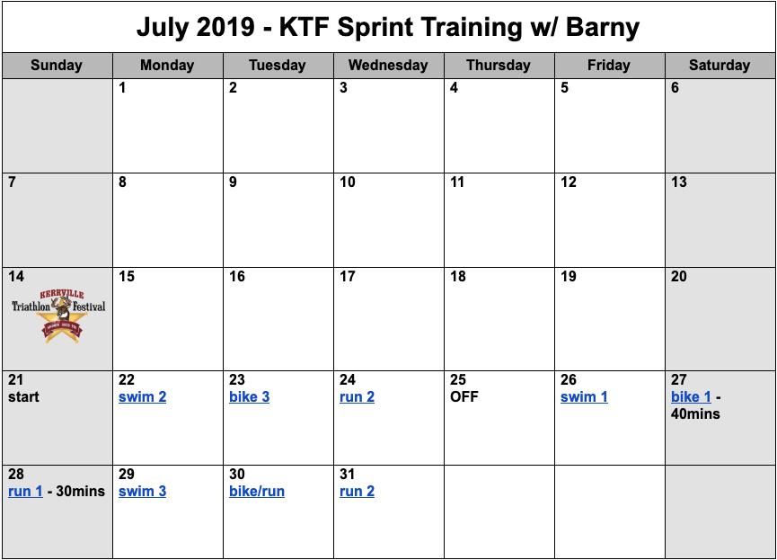 July sprint distance triathlon training plan for Debra Zapata Sprint Triathlon.